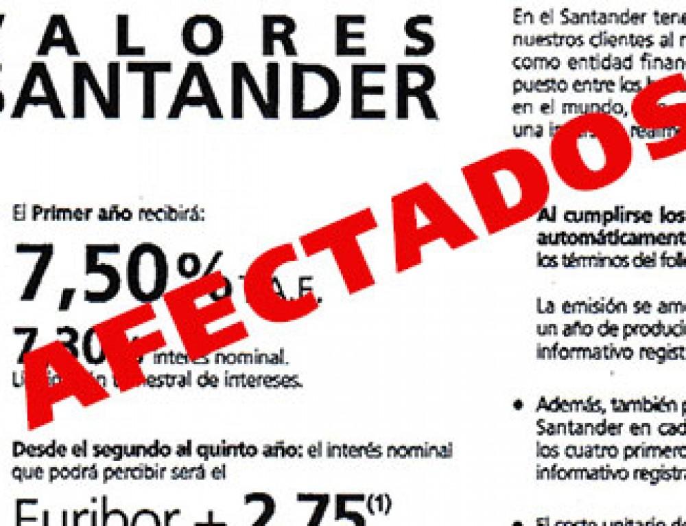 ¿Qué sucede con los afectados por Valores Santander después de tres años?